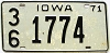 1971 IOWA license plate # 1774, Fremont County