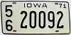 1971 IOWA license plate # 20092, Lee County