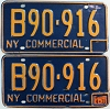 1971 New York Commercial license plates pair # B90-916
