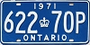 1971 ONTARIO license plate # 622-70P