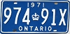 1971 ONTARIO license plate # 974-91X