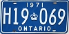 1971 ONTARIO license plate # H19-069