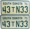 1971 South Dakota Farm Truck pair # N33, Lake County