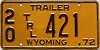 1972 Wyoming Trailer #421, Washakie County