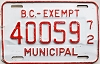 1972 British Columbia Municipal Exempt # 40059