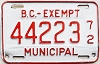 1972 British Columbia Municipal Exempt # 44223