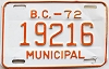 1972 British Columbia Municipal # 19216
