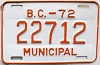 1972 British Columbia Municipal # 22712
