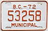 1972 British Columbia Municipal # 53258
