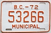 1972 British Columbia Municipal # 53266