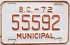 1972 British Columbia Municipal # 55592