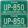 1972 Colorado Farm Truck pair # UP-850, Fremont County