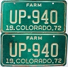 1972 Colorado Farm Truck pair # UP-940, Fremont County