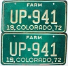 1972 Colorado Farm Truck pair # UP-941, Fremont County