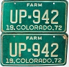 1972 Colorado Farm Truck pair # UP-942, Fremont County