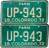 1972 Colorado Farm Truck pair # UP-943, Fremont County