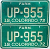 1972 Colorado Farm Truck pair # UP-955, Fremont County