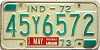 1972 INDIANA license plate # 45Y6572