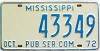 1972 Mississippi Public Service Commission license plate # 43349