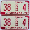 1972 Nebraska Commercial Truck pair low # 4, Furnas County