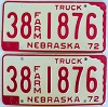 1972 Nebraska Farm Truck pair # 1876, Furnas County