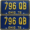 1972 Ohio pair # 796 QB