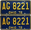 1972 Ohio pair # AG 8221