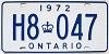 1972 ONTARIO license plate # H8-047