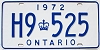 1972 ONTARIO license plate # H9-525