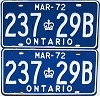 1972 ONTARIO Quarterly Commercial license plates pair # 237-29B