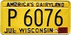 1972 Wisconsin license plate # P 6076