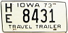 1973 Iowa Travel Trailer # HE 8431