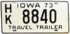 1973 Iowa Travel Trailer #HK8840