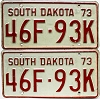 1973 South Dakota Farm Truck pair # 93K, McCook County