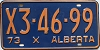 1973 ALBERTA EXEMPT license plate # X3-46-99