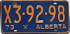 1973 ALBERTA EXEMPT license plate # X3-92-98