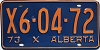 1973 ALBERTA EXEMPT license plate # X6-04-72