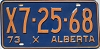 1973 ALBERTA EXEMPT license plate # X7-25-68