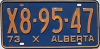 1973 ALBERTA EXEMPT license plate # X8-95-47