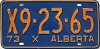 1973 ALBERTA EXEMPT license plate # X9-23-65