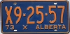 1973 ALBERTA EXEMPT license plate # X9-25-57