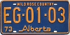 1973 ALBERTA Wild Rose Country license plate # EG-01-03