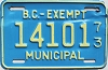 1973 British Columbia Municipal Exempt # 14101