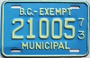 1973 British Columbia Municipal Exempt # 21005
