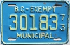 1973 British Columbia Municipal Exempt # 30183