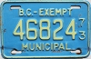 1973 British Columbia Municipal Exempt # 46824