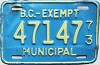 1973 British Columbia Municipal Exempt # 47147