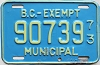 1973 British Columbia Municipal Exempt # 90739