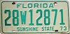 1973 FLORIDA license plate # 12871, Pasco County