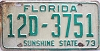 1973 FLORIDA license plate # 12d3751, Lake County